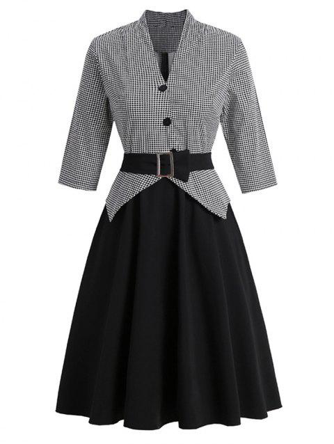 Houndstooth Belted Mock Button Peplum Dress