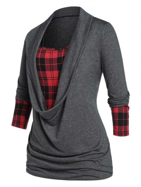 Plus Size Plaid Cowl Front Draped Long Sleeve Tee