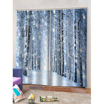 2 Panels Snowy Forest Pattern Window Curtains, Multicolor