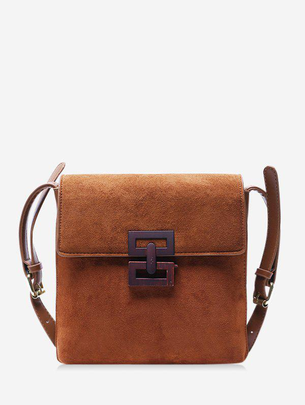 Hollow Geo Square Cover Crossbody Bag - BROWN