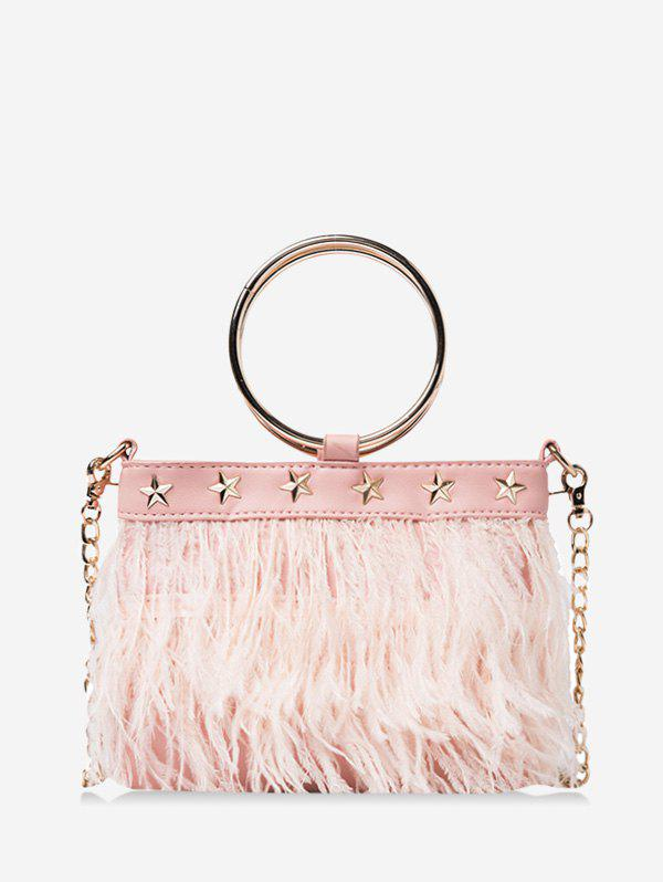 Feather Fringe Star O Ring Chain Crossbody - PINK