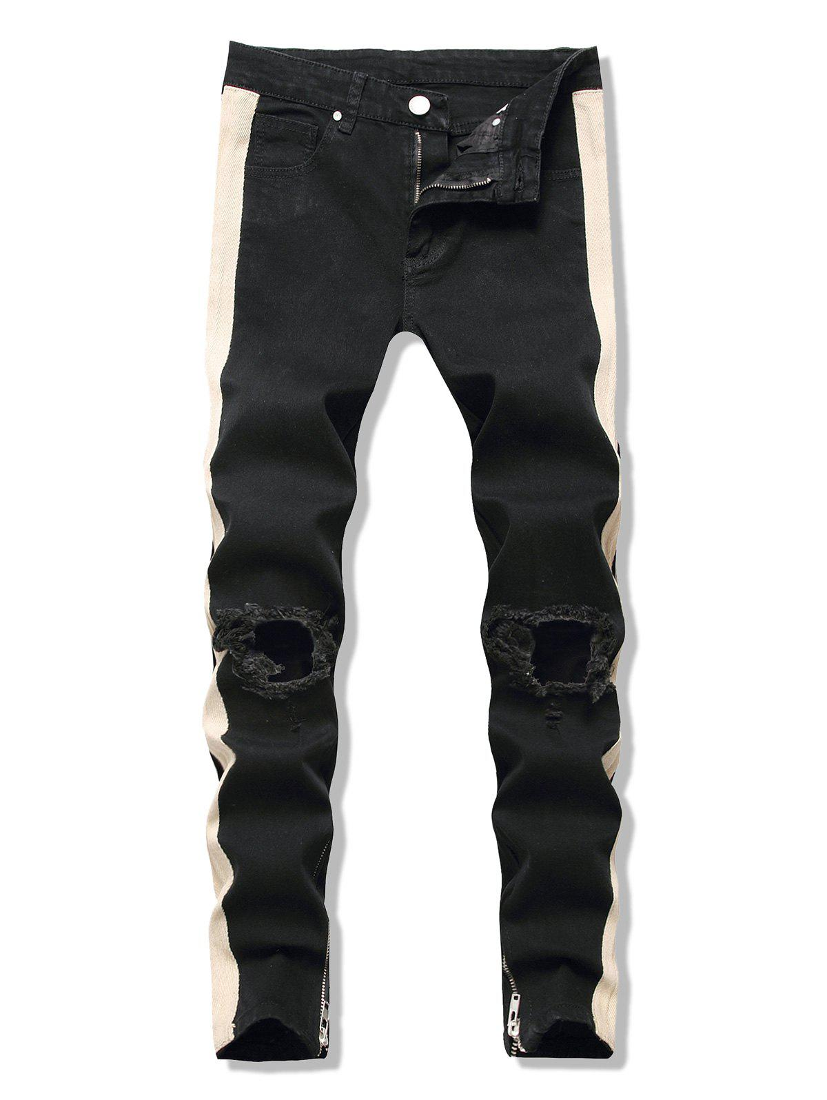 Cut Out Contrast Tape Tapered Jeans - BLACK XL
