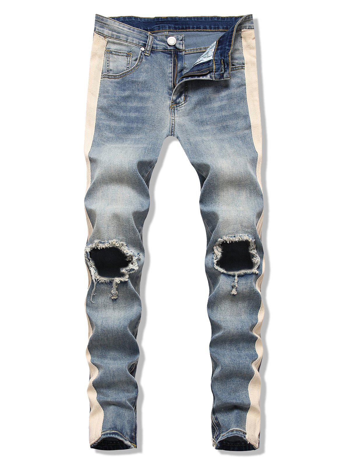 Cut Out Contrast Tape Tapered Jeans - SILK BLUE 2XL