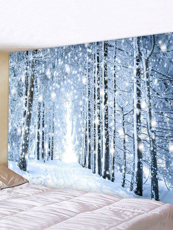 Snowy Forest Trail Print Tapestry Wall Hanging Art Decoration - multicolor W91 X L71 INCH