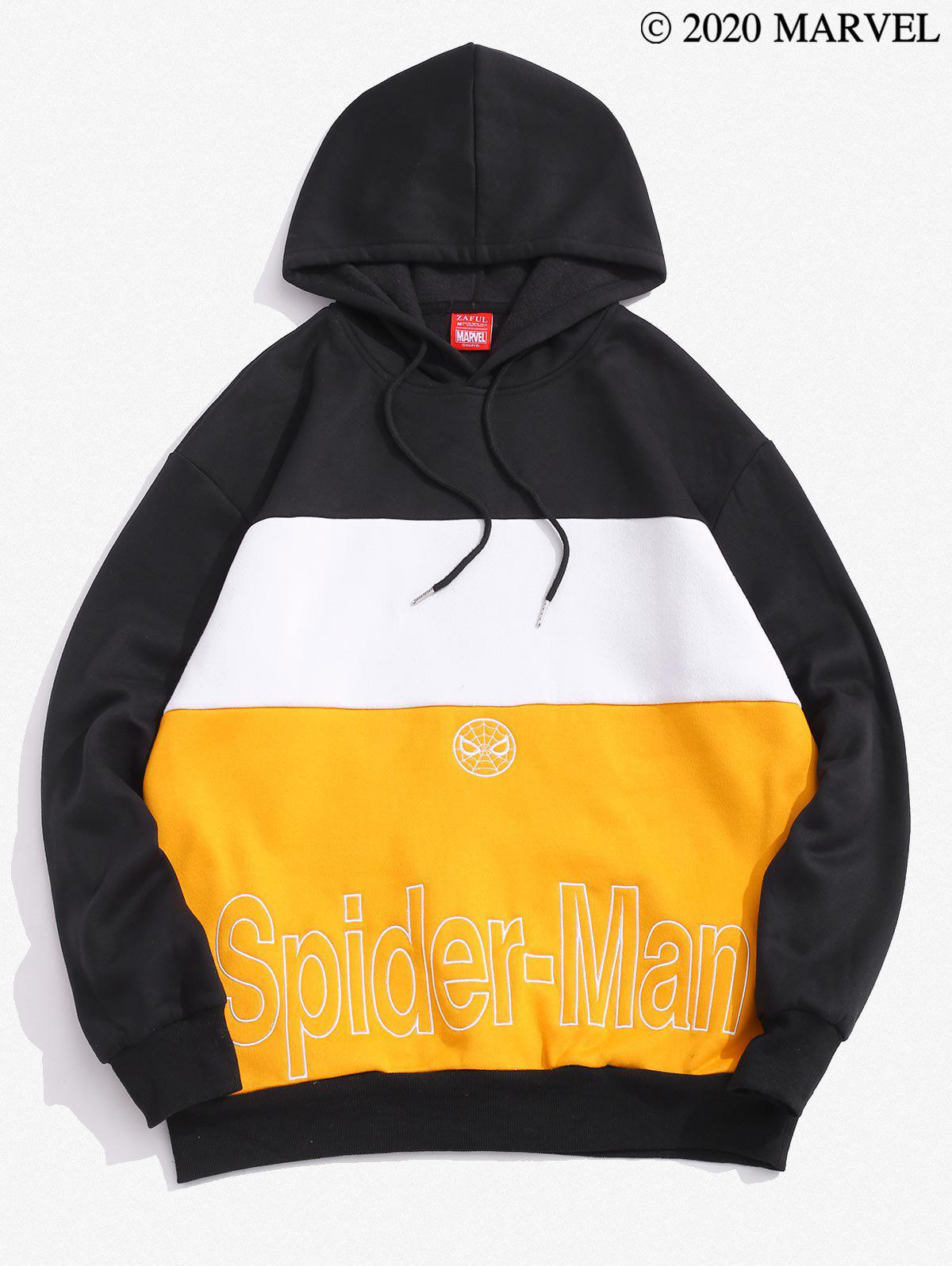 Marvel Spider-Man Embroidered Contrast Fleece Hoodie - multicolor A M