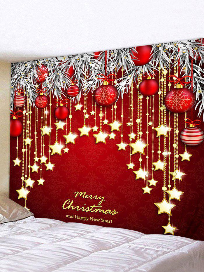 Christmas Ball Letters Print Wall Tapestry - multicolor W91 X L71 INCH