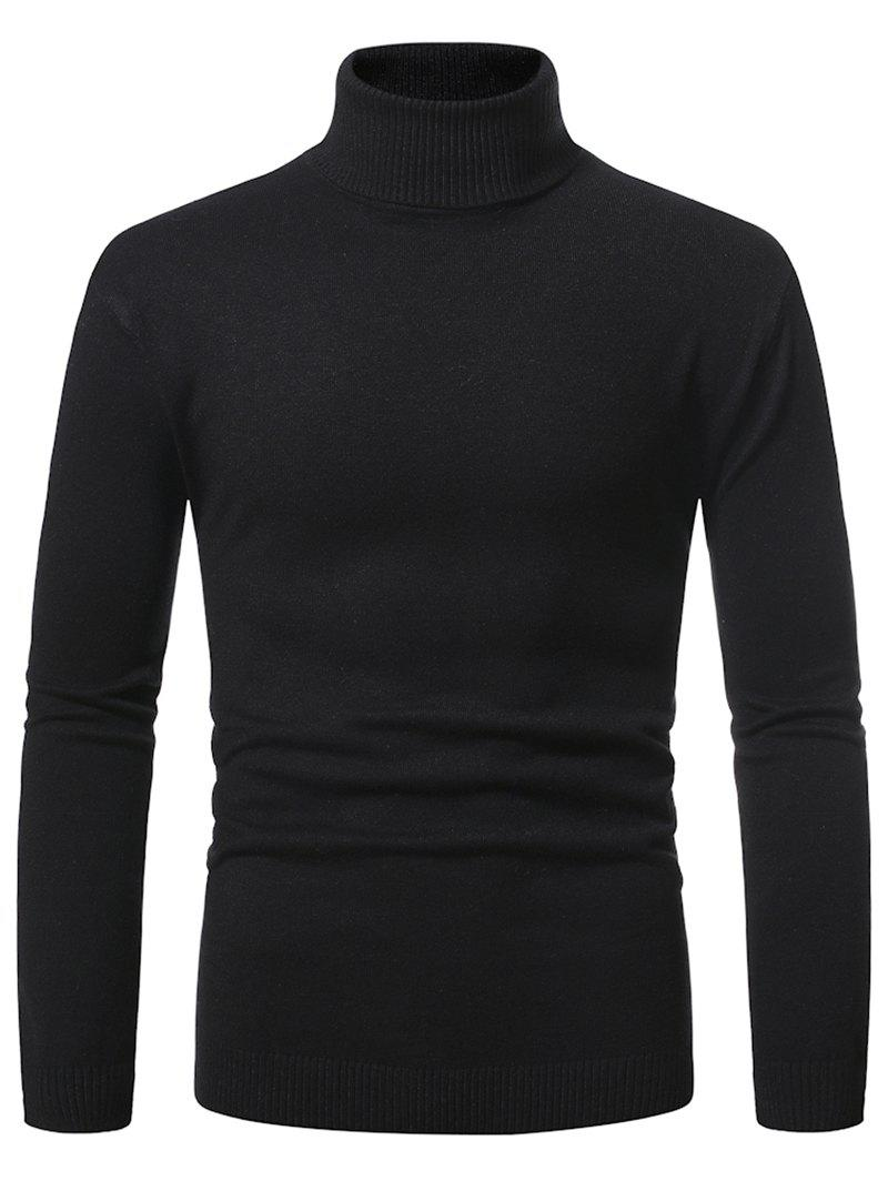 Turtleneck Pullover Plain Sweater - BLACK M