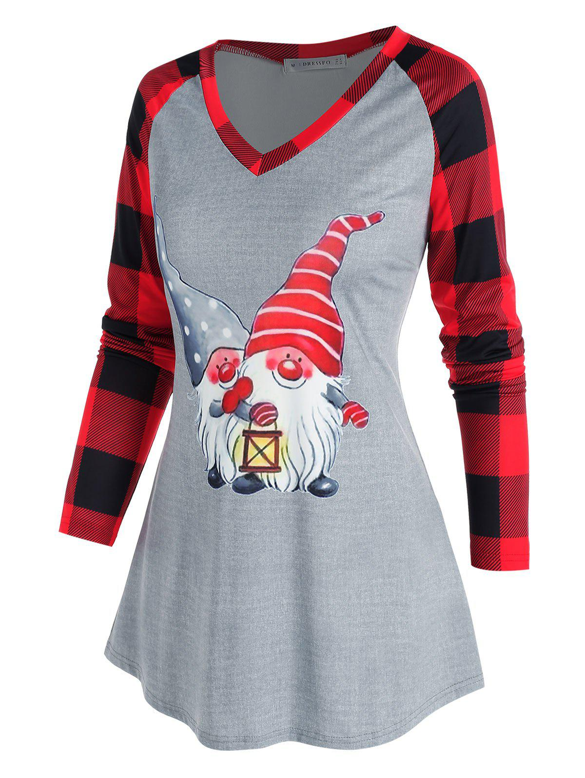 Christmas Plaid Santa Claus Print Raglan Sleeve T Shirt - GRAY 2XL