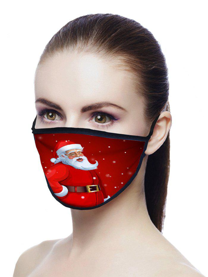 Christmas Santa Claus Pattern Air Layer Fabric Face Mask - RED WINE 20*15CM