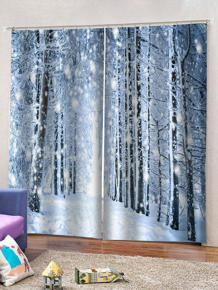 2 Panels Snowy Forest Pattern Window Curtains - multicolor W33.5 X L79 INCH X 2PCS