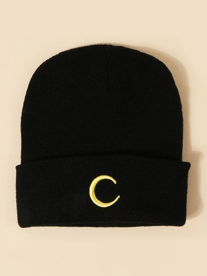 Embroidered Moon Pattern Knitted Hat - BLACK