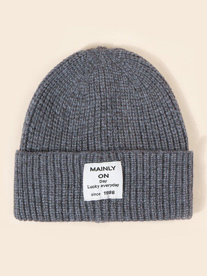 Letter Label Solid Winter Knitted Hat - SMOKEY GRAY