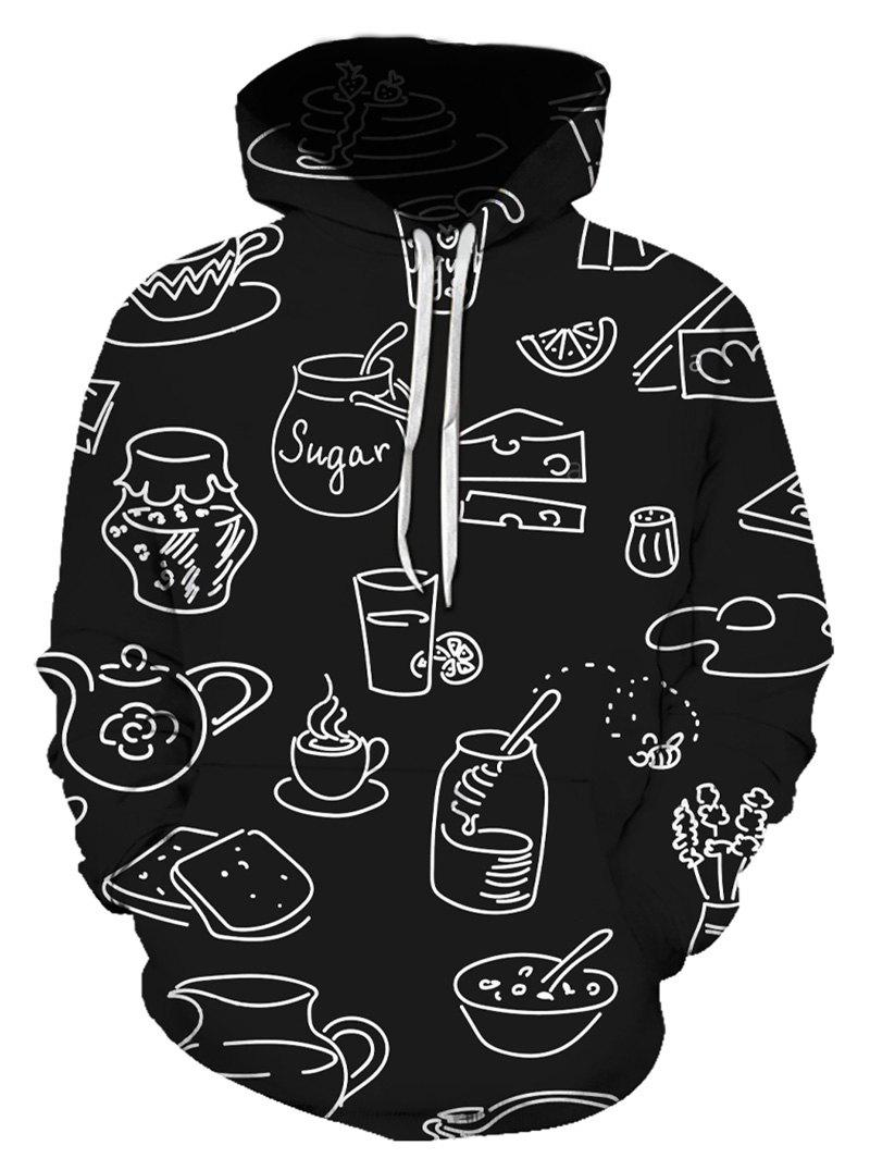 Abstract Bottles Print Front Pocket Hoodie - multicolor 3XL