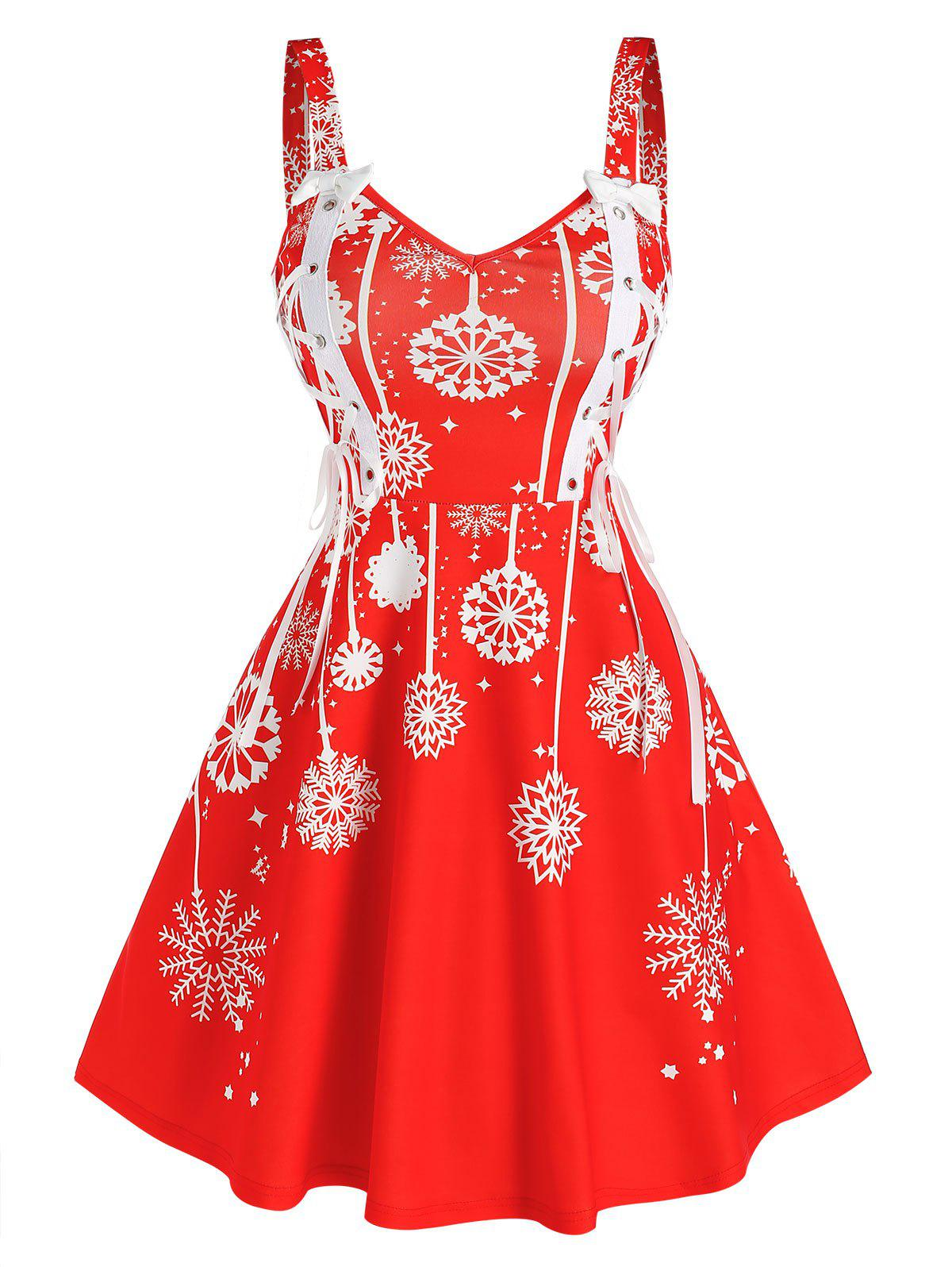 Christmas Snowflake Print Sleeveless Lace-up Dress - RED 3XL