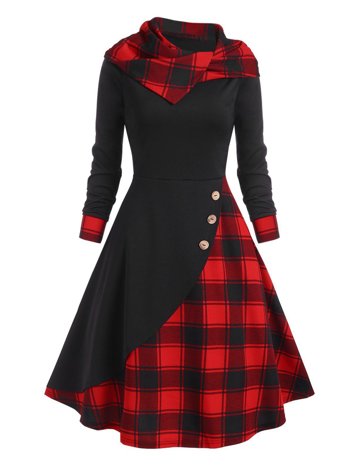 Plaid Hooded Mock Button Overlap Midi Dress - BLACK M