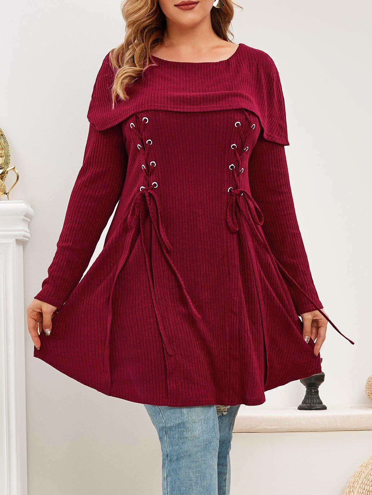Plus Size Lace Up Foldover Knitwear - DEEP RED 3X