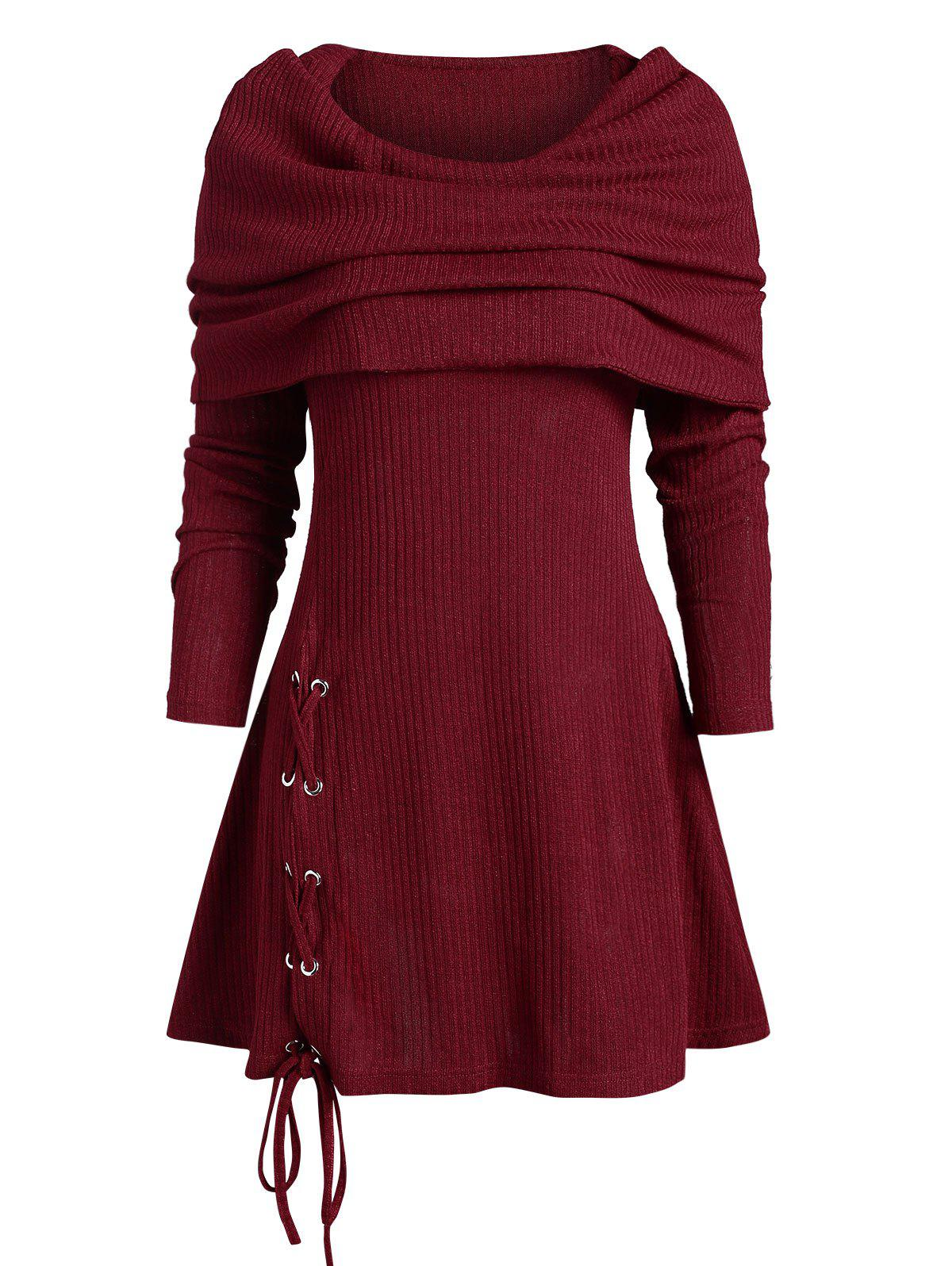 Multiway Foldover Lace Up Long Knitwear - DEEP RED XL
