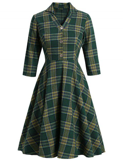 Plaid V Notched Mock Button Midi Dress