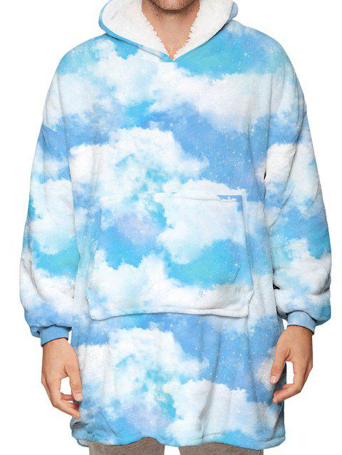 Cloud Print Kangaroo Pocket Fleece Blanket Hoodie