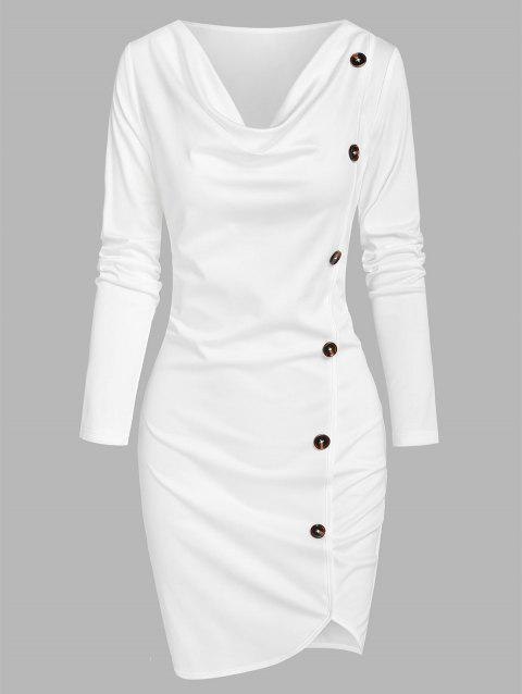 Mock Button Asymmetrical Sheath Dress