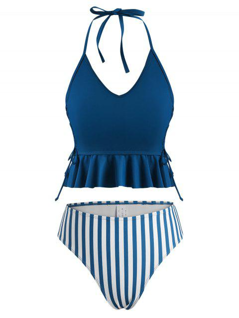 Halter Lace-up Striped High Leg Peplum Tankini Swimwear