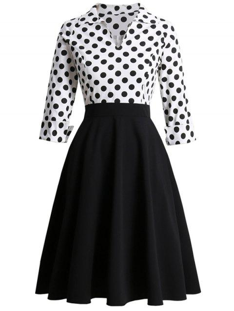 Polka Dot V Notched Rolled Sleeves High Waisted Dress