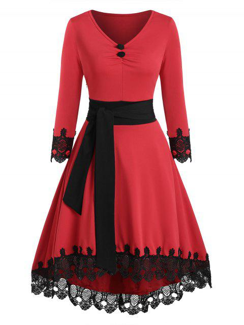 Guipure Insert Mock Button Belted High Low Dress