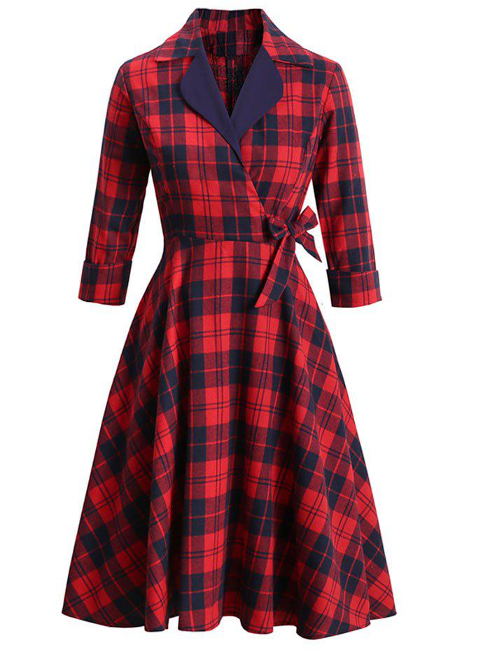 Plaid Lapel Rolled Sleeve Surplice Bowknot Dress - RED 2XL