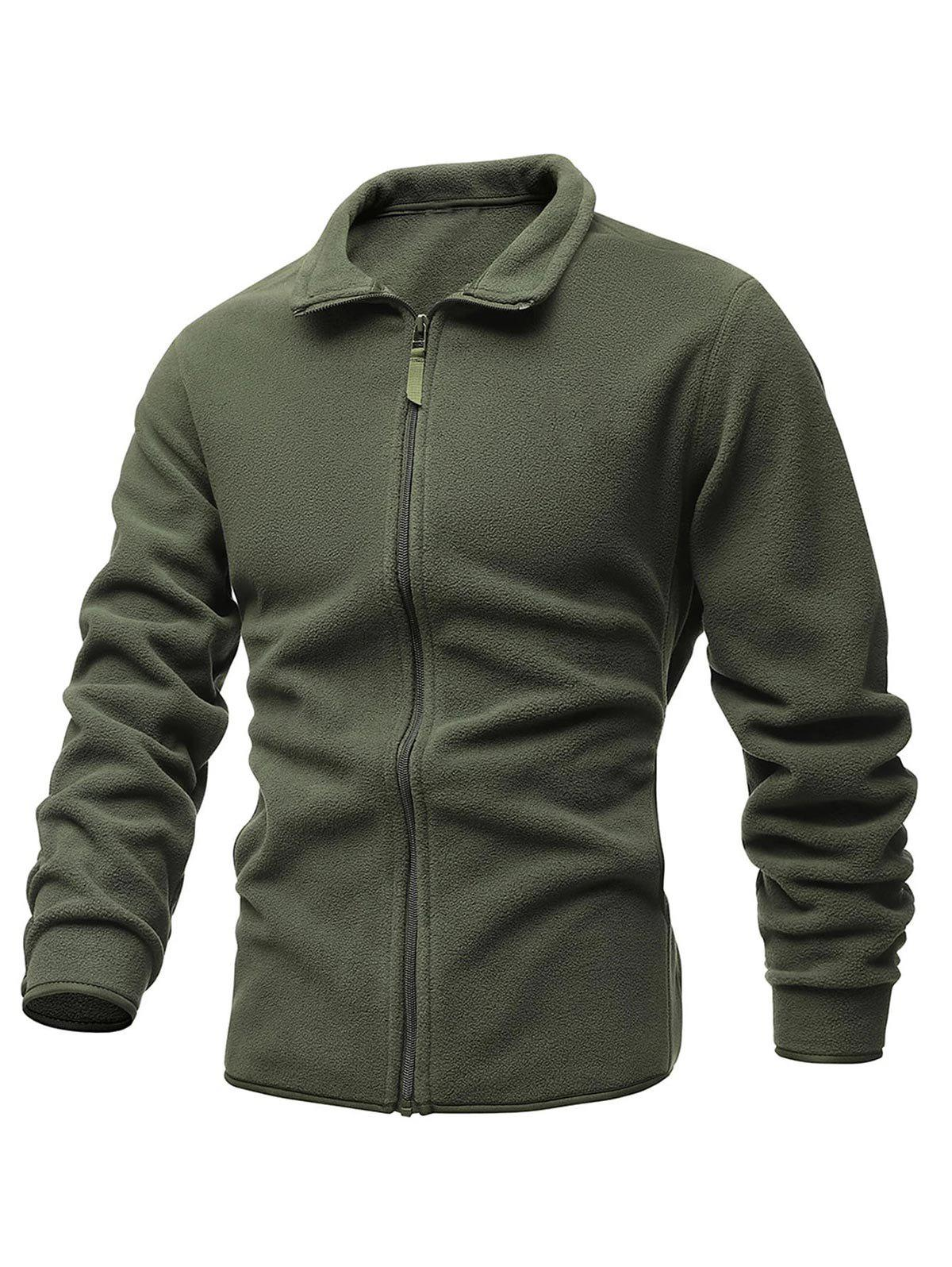 Turndown Collar Zip Up Polar Fleece Jacket - ARMY GREEN L