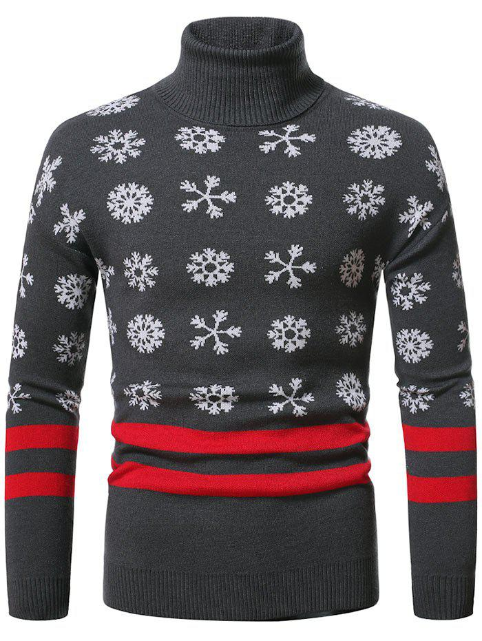 Christmas Snowflake Pattern Turtleneck Sweater - DARK GRAY XXL