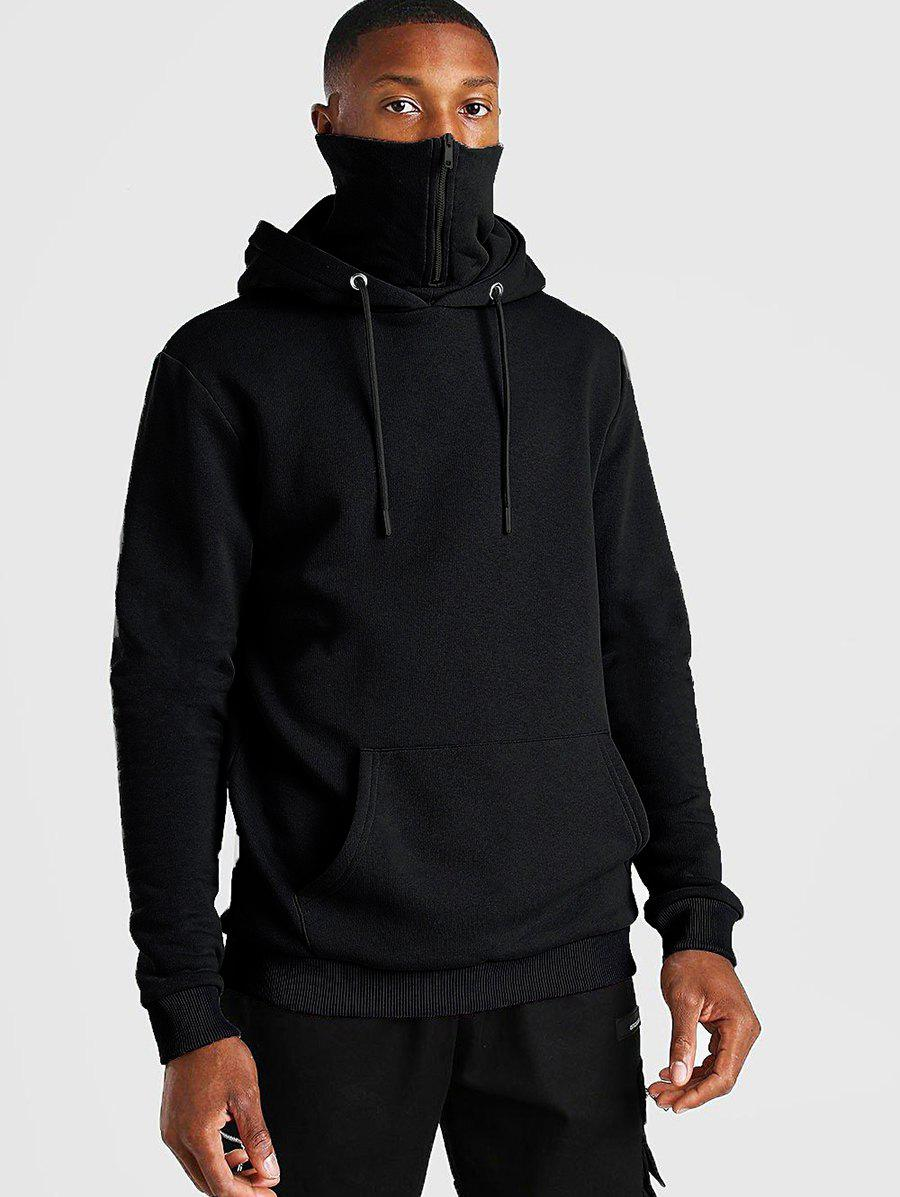 Pullover Zip Design Fleece Hoodie - BLACK 2XL