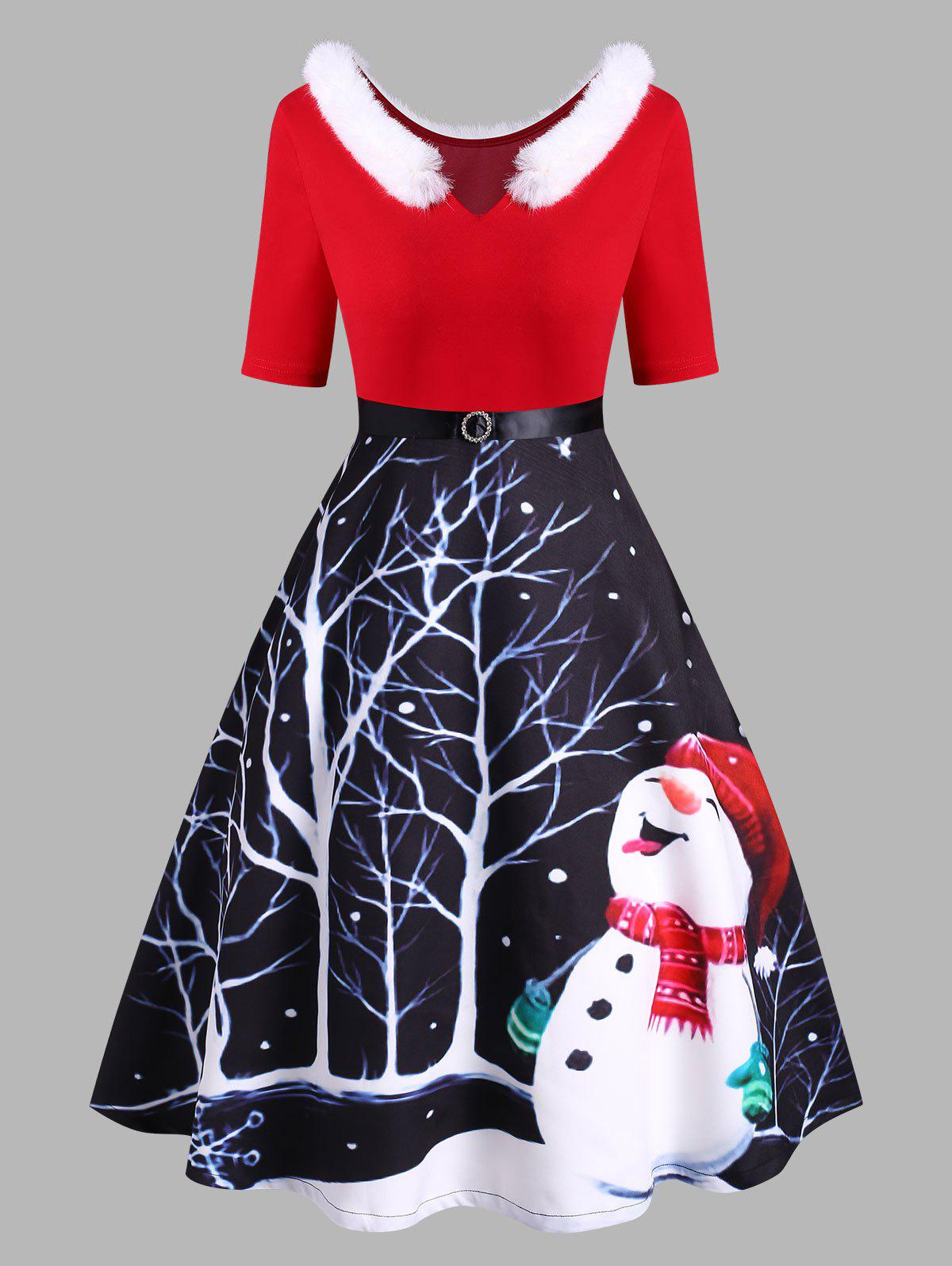 Christmas Snowman Faux Fur Insert Diamante Belted V Neck Dress - RED XXXL