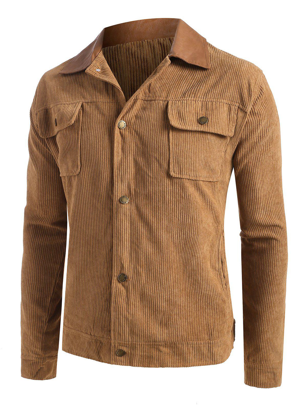 Button Up Ribbed Corduroy Jacket - CAMEL BROWN S