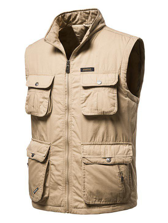 High Neck Zip Padded Pocket Cargo Waistcoat - DEEP YELLOW 2XL