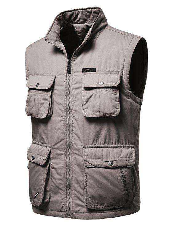 High Neck Zip Padded Pocket Cargo Waistcoat - COFFEE 2XL