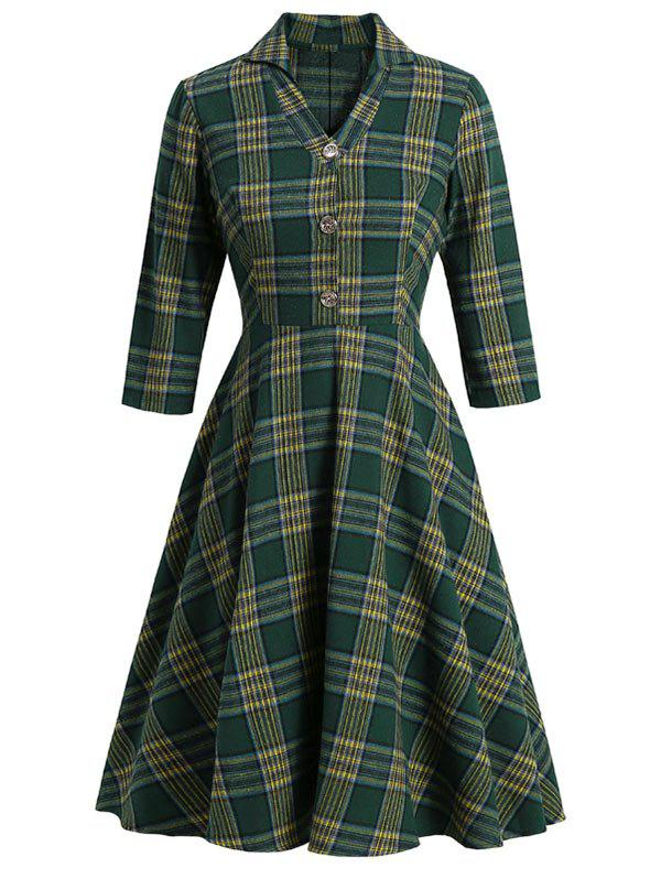 Plaid V Notched Mock Button Midi Dress - DEEP GREEN 2XL