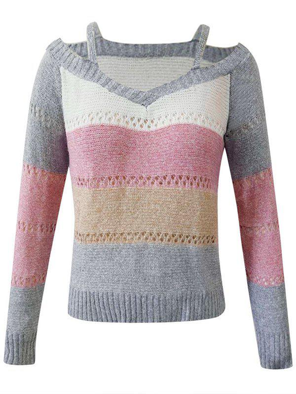 Plus Size Cutout Colorblock Sweater - LIGHT GRAY 5XL