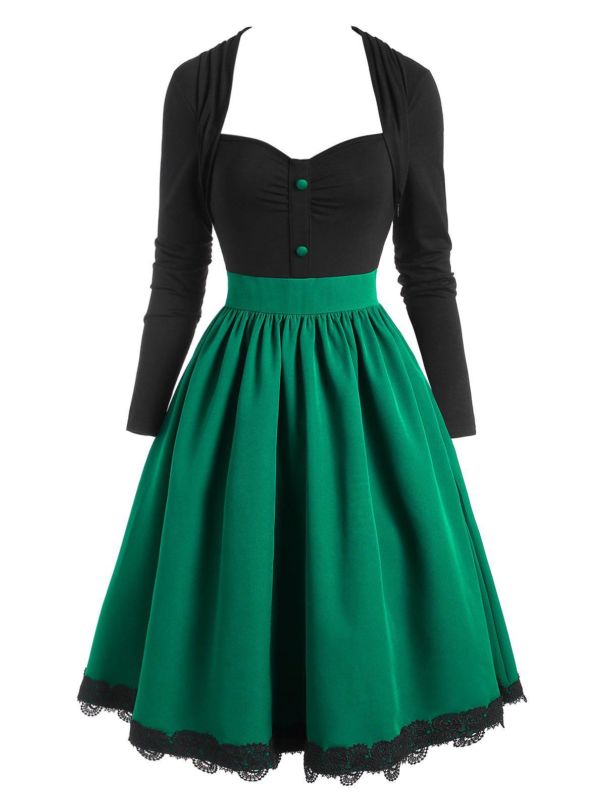 Vintage Guipure Insert Mock Button Colorblock Dress - DEEP GREEN XL