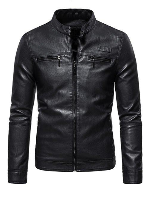 Zipper Detail Faux Leather Fleece Jacket - BLACK XS