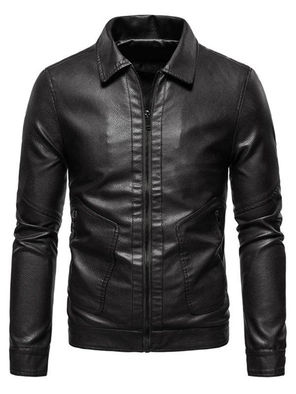 PU Leather Zip Pocket Jacket - BLACK XS