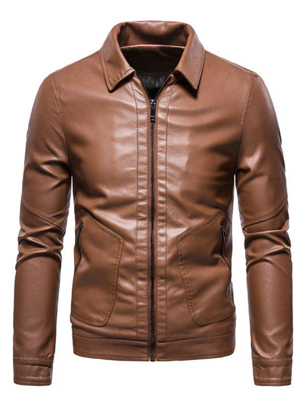 PU Leather Zip Pocket Jacket - BROWN XS