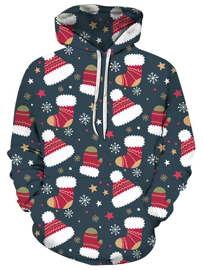 Christmas Stocking Hat Front Pocket Hoodie - multicolor 2XL