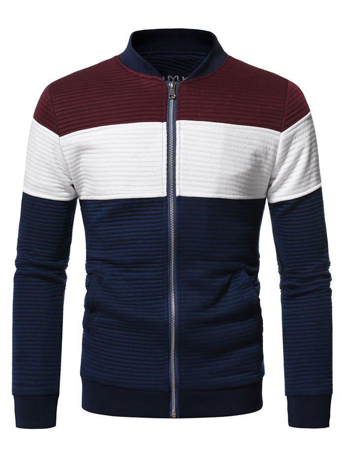 Contrast Zip Up Ribbed Jacket - RED WINE M