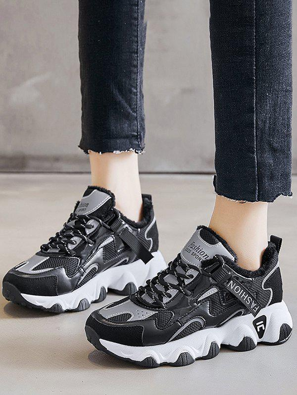 Colorblock Casual Fluffy Sports Sneakers - BLACK EU 40