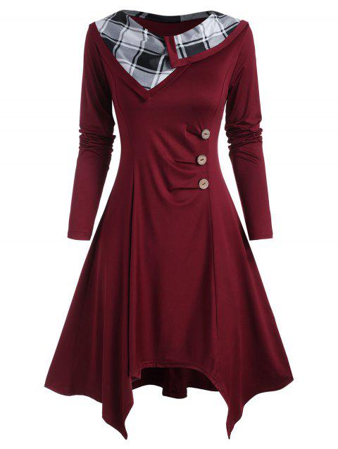 Mock Buttons Ruched Plaid Panel Long Sleeve Dress