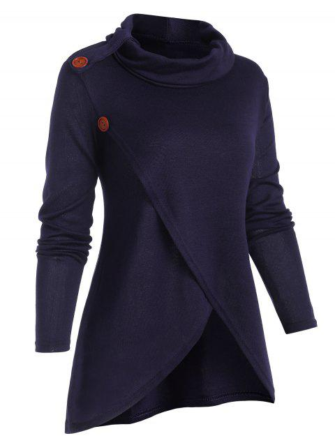 Cowl Neck Solid Overlap Front Knitwear