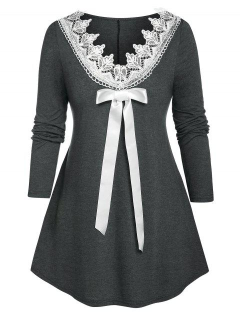 Plus Size Guipure Lace Bowknot Long Sleeve Tee