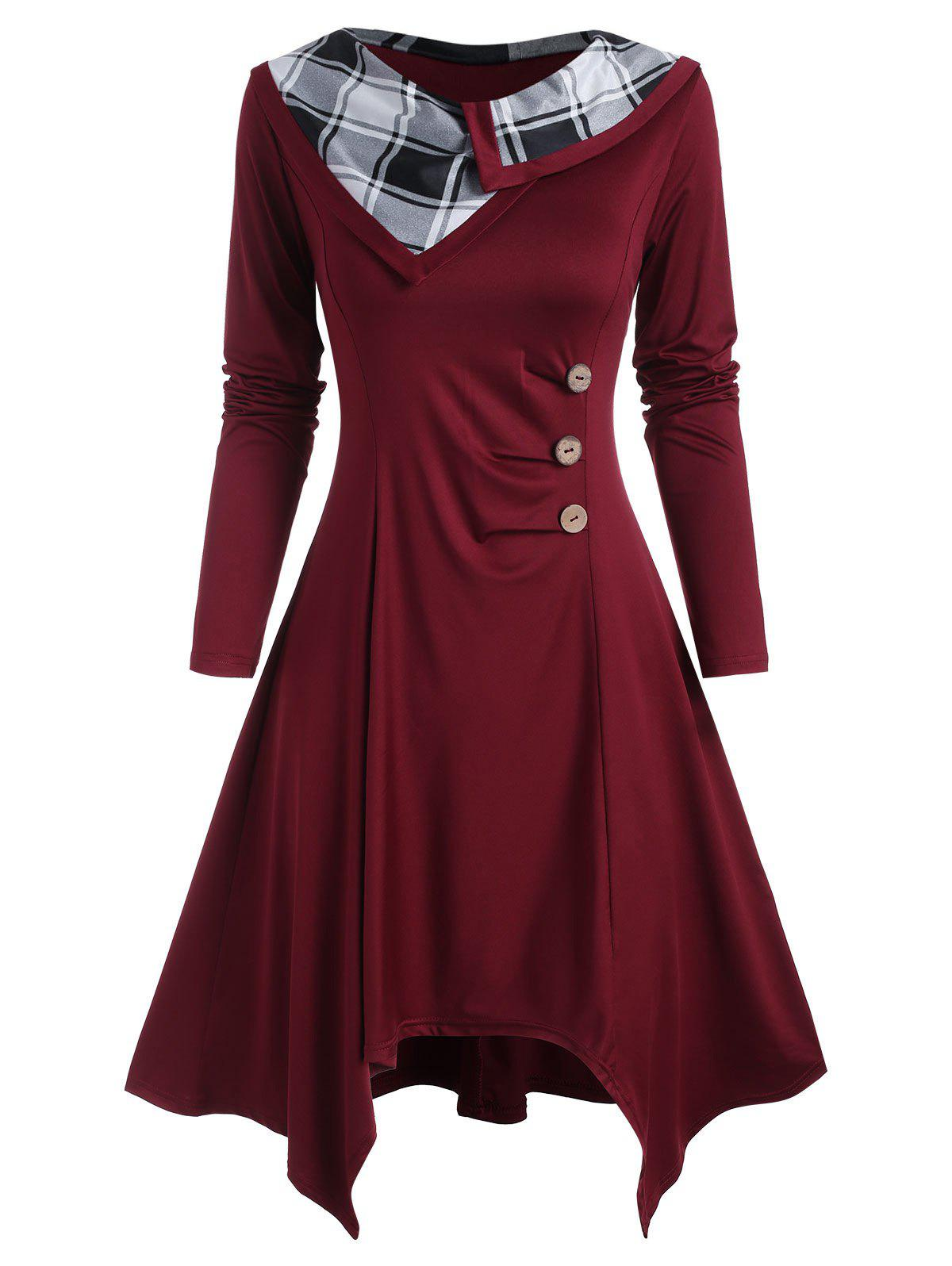Mock Buttons Ruched Plaid Panel Long Sleeve Dress - DEEP RED L