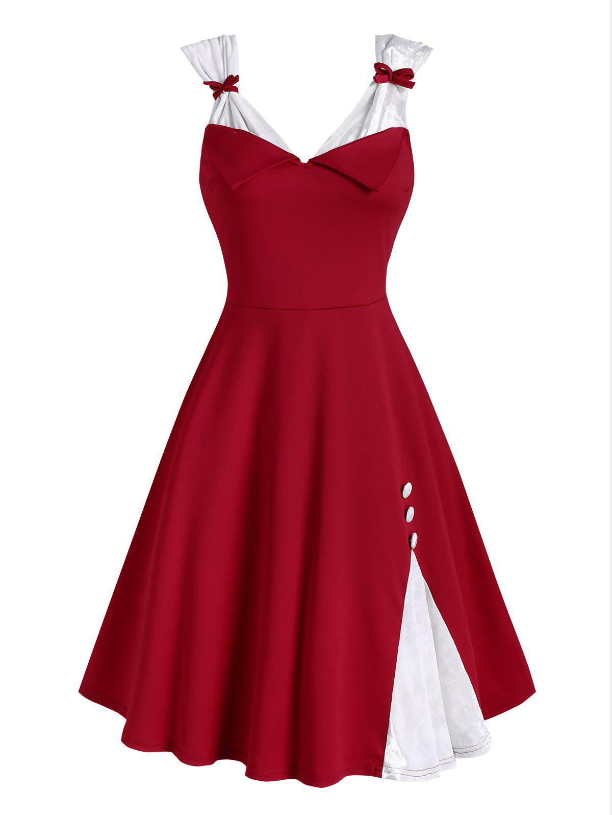 Mock Buttons Bowknot Christmas Velvet Panel Dress - RED L