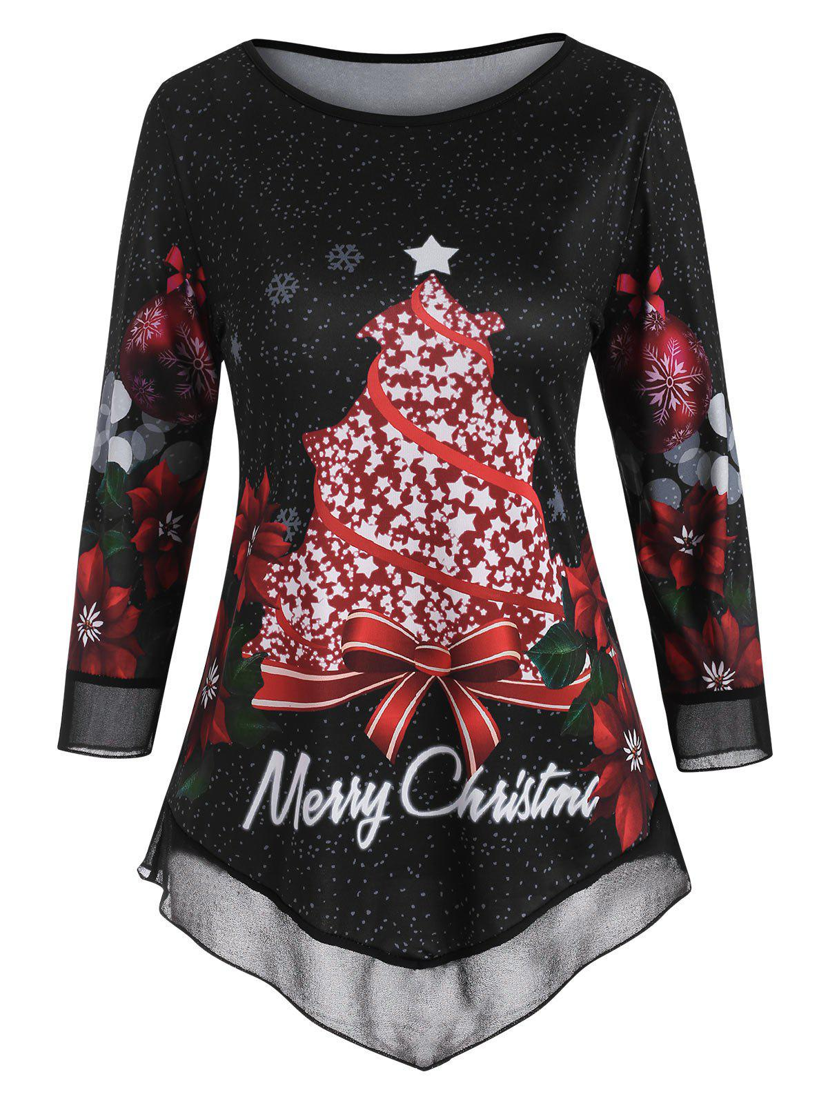 Mesh Panel Floral Snowflake Merry Christmas Top - BLACK 3XL